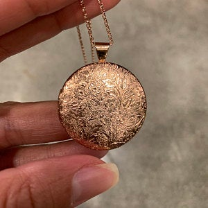 Floral Locket in Antique Silver and Rose Gold - Choose 0-2 Photos photo review